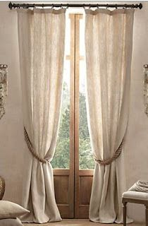 Textured Belgian Linen Drapery - mediterranean - curtains - - by Restoration Hardware Apartment Inspiration, Rideaux Shabby Chic, Drapes Curtains, Burlap Curtains, Curtain Ties, Curtains Living, Bedroom Curtains, Tie Backs For Curtains, Home Decor Ideas