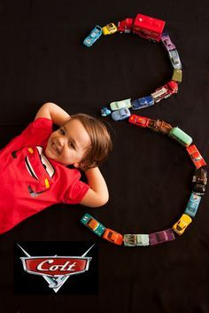 Disney Cars Birthday Party Ideas (Take photo of Jax like this on his birthday tlh)