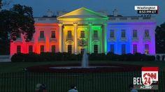 Белый дом в Вашингтоне подсветили цветами флага ЛГБТ                              Здание американского Белого дома в Вашингтоне подсветили цветами флага ЛГБТ. Таким образом отмечается признание однополых браков во всех штатах страны.Напомним, что в пятницуВерховный