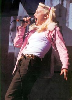 Gwen Stefani old school, pink jacket