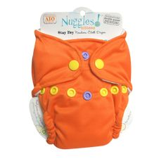 Who you calling koi? - Bittees Stay-dry Newborn AIO Diaper – Nuggles Designs Canada - This is an orange cloth diaper #clothdiapers #diapers #newborndiapers