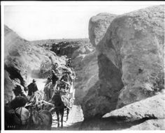A desert stage going through a canyon heading towards Goldfield, Nevada, ca.1900. http://digitallibrary.usc.edu/cdm/ref/collection/p15799coll65/id/11219