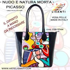 """Hand painted on Black Bag (Genuine Leather, Made in Italy). """"Author's fake copy"""" line; """"Nude and Still Life"""" by Picasso. Super durable color. --  Borsa dipinta a mano, nudo con natura morta di Picasso vera pelle Exchange Code 108 Painting Code PNM www.artelisanti.com"""