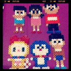 Doraemon characters perler beads by funwithbeadz