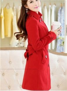 Popular Red Long Sleeve Doouble Breasted Wool Trench Coat