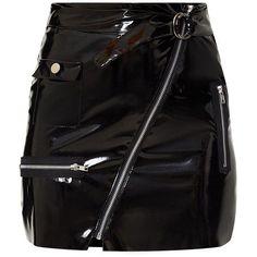 Black Vinyl Biker Mini Skirt (595 ARS) ❤ liked on Polyvore featuring skirts, mini skirts, bottoms, gonne, mini skirt, vinyl skirts, short skirts, bike skirt and vinyl mini skirt