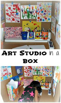 Create a cozy place in a box for a spiced up  art area.- can work as a reading nook too.