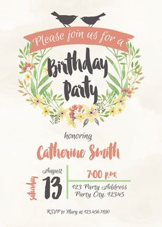 Flat floral free printable birthday invitation template floral watercolor birthday invitation adult birthday invite birds and floral party invitation stopboris Image collections