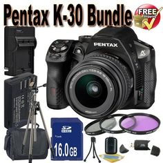 Pentax K30 Digital Camera with 18-55mm Lens Kit (Black) + 16GB SDHC Class 10 Memory Card + Extended Life Battery + External Rapid Travel Quick-Charger + USB Card Reader + Memory Card Wallet + Shock Proof Deluxe Case + 3 Piece Professional Filter Kit + Professional Full Size Tripod + Accessory Saver Bundle! by BVI. $795.99. This Kit Includes! 1- Pentax K30 Digital Camera with 18-55mm Lens Kit (Black) w/ All Supplied Accessories  1- 16GB SDHC Class 10 Memory Card 1- Ex...
