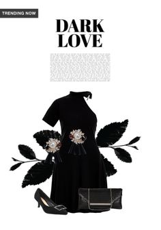 'dark love' by me on Limeroad featuring Black Clutches, Black Pumps with Solids Black Dresses