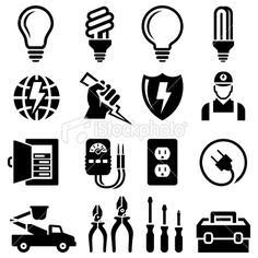 Electrician Equipment for Outlet Repair black & white icon set vector art illustration Map Vector, Free Vector Art, Logo Design Inspiration, Icon Design, Icon Set, Electrician Logo, Lineman Tattoo, Diy Notebook Cover, Logo Shapes