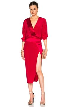 Image 1 of Mason by Michelle Mason Obi Wrap Dress in Cranberry