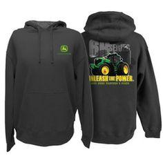 John Deere Unleash the Power Mens Hoodie Sweatshirt