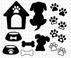 Paw Print Clip Art, Dog Bones, Dog Silhouette, Cat Paws, Pet Memorials, Print And Cut, Dog Tags, Cricut, Paw Prints