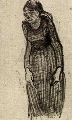 Woman StandingbyVincent van Gogh   Medium: pencil on paper