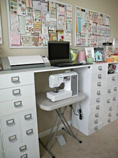 #papercraft #craftroom. Sewing area  --  love all those great drawers to keep things sorted out