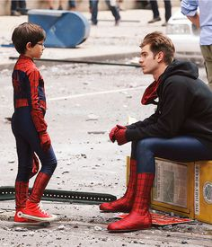 Andrew Garfield on the set of The Amazing Spiderman 2.. So excited for the amazing spiderman 2 movie to come out!!!!