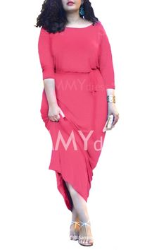 Casual Slash Neck Solid Color 3/4 Sleeve Plus Size Dress For Women