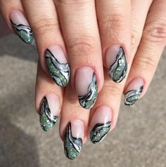 Negative Space Geode Nails
