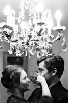 Romy Schneider and Alain Delon at home, 1959.