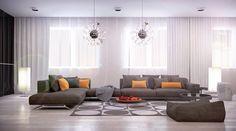 Orange pillow sofa