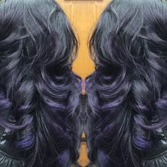 Refreshed purple highlights with a mix of Joico intensities Purple Amethyst and cobalt blue!