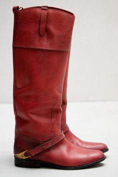 Red Leather Riding Boots: