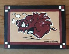 "Arkansas Razorback Painting 5 x 7"" New Signed and Licensed 