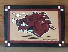 "Arkansas Razorback Painting 5 x 7"" New Signed and Licensed | eBay"