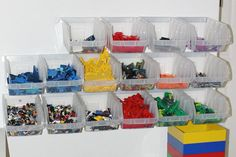 Lego Storage Ideas - hanging tubs