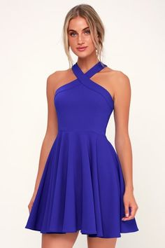 Catch their eye as you dance the night away in the Lulus The Way You Look Tonight Royal Blue Halter Skater Dress! A cute medium-weight knit halter skater dress. Hoco Dresses, Navy Blue Dresses, Dresses For Teens, Homecoming Dresses, Cute Dresses, Homecoming Ideas, Prom, Dance Dresses, Formal Dresses