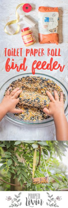 The easiest bird feeder to make at home with a toddler! All you need is peanut butter, bird seed and a toilet paper roll. Quick and easy activity to do with my 2 year old