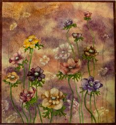 Hand painted fabric  Anemones 2 by ArtQuiltsbyGretchen on Etsy, $425.00
