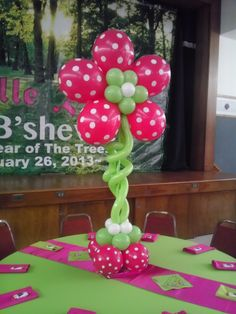 5 of these Balloon Trees were mixed in between the live tree centerpieces which were given away to plant in honor of Jewish holiday Tu B'shevat New Year of Trees. The balloons helped keep the whimsical for the 13 year old birthday girl while honoring the tree theme.
