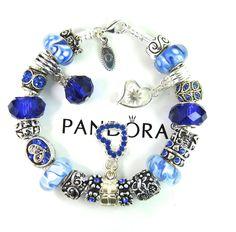 Authentic pandora silver charm bracelet with european charm beads sandal flower #Pandoralobsterclaspclaw #European