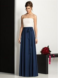 Bridesmaid dress- midnight blue and ivory. I do grey on the top