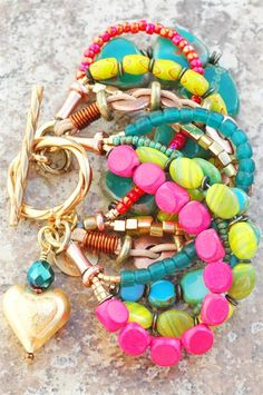 Blue, Green & Pink Heart Charm Bracelet