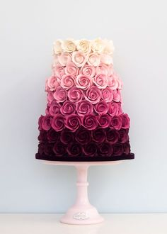 Ombre Rose Wedding Cake This is beautiful. And they got to have it for a wedding… Ombre Rose Wedding Cake This is beautiful. And they got to have it for a wedding cake but it's beautiful Fancy Cakes, Cute Cakes, Pretty Cakes, Bolo Cake, London Cake, Wedding Cake Roses, Cream Wedding Cakes, Pretty Wedding Cakes, Amazing Wedding Cakes