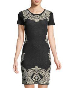 Short Sleeve Jacquard Dress