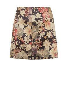 Fashion Union - Jupe noire boutonnée en suédine à imprimé floral   New Look
