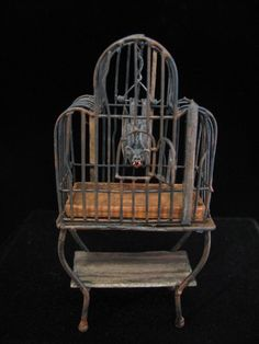OOAK 1:12 Scale Dollhouse Miniature Vampire Bat in Cage Halloween Witch Pet | eBay