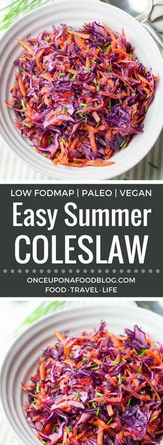 This fresh, easy, summer coleslaw is a slaw that you will come back to again and again. Crunchy, but with none of the toughness of traditional coleslaw. The tangy lime dressing really makes the flavours sing. #coleslaw #easycoleslaw #healthy #vinegar #nomayo #vegan #cleaneating #keto #whole30 #paleo #lowfodmap #recipe