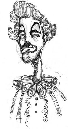 clown sketch - Jeff Stone Arte Grunge, Grunge Art, Dark Art Drawings, Art Drawings Sketches, Creepy Art, Weird Art, Arte Peculiar, Trash Art, Art Diary