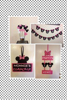 Minnie Mouse Birthday Decorations Lot  Door by TheGirlNXTdoor, $64.50