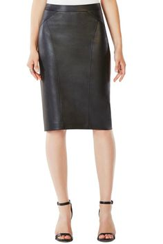 From office to after-hours, this pencil silhouette is cut from supple faux leather that hugs your waist and hips. Fully lined in smooth crepe de chine, it's finished with a back slit for ease of movement. Concealed back zipper closure Smooth nappa pleather Washable Imported   Natilie Faux-Leather Skirt by BCBG Max Azria. Clothing - Skirts Ohio