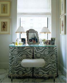 skirted vanity via timothy whealon. like the tailored design, no fringe