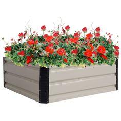 Goplus 31.5'' x 31.5'' Square Raised Garden Bed Set Flower Seeds Plant Vegetables
