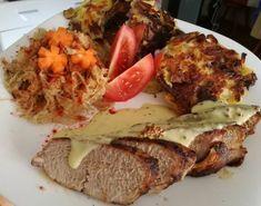 Sertés sült hagymás rösztivel és mustárszósszal Pork, Turkey, Chicken, Pork Roulade, Peru, Pigs, Cubs, Pork Chops
