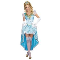 Having A Ball - Adult Cinderella Costume, Every princess knows they must be pretty and clever, or finding a prince might just take forever! You are the most stunning beauty at the ball wearing this exquisite blue satin dress with high-low hemline, sheer p Sexy Halloween Costumes, Halloween Fancy Dress, Halloween Kostüm, Adult Costumes, Costumes For Women, Halloween Inspo, Halloween Parties, Girl Costumes, Blue Satin Dress