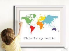 Kids wall art. World map print childrens wall art. Kid by Wallfry